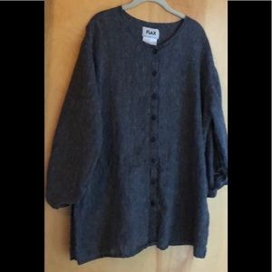 FLAX micro striped long linen blouse size large
